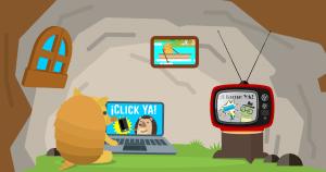 Kiwi mirando publicidad digital y tv (Click Ya vs Llame Ya) - Marketing Online - iMaat, Agencia de Marketing Digital